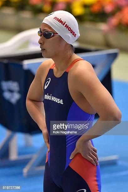 Satomi Suzuki looks on prior to the Women's 200m qualification during the Japan Swim 2016 at Tokyo Tatsumi International Swimming Pool on April 8...