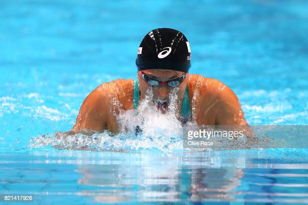 Satomi Suzuki of Japan competes during the Women's 100m Breaststroke Heats on day eleven of the Budapest 2017 FINA World Championships on July 24...