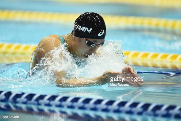 Satomi Suzuki of Japan competes in 100m Breaststroke Final during the Japan Open 2017 at Tokyo Tatsumi International Swimming Pool on May 19 2017 in...