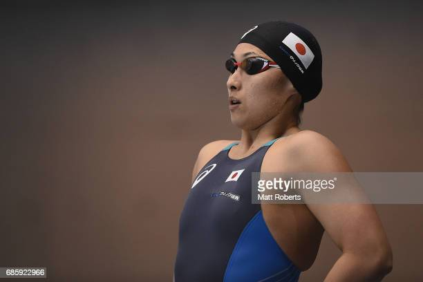 Satomi Suzuki of Japan competes in 50m Breaststroke Final during the Japan Open 2017 at Tokyo Tatsumi International Swimming Pool on May 20 2017 in...