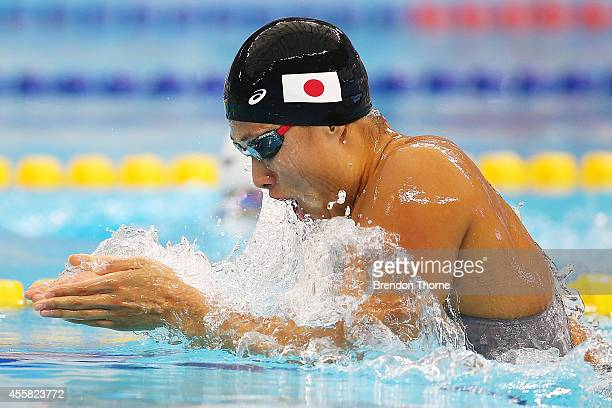 Satomi Suzuki of Japan competes in heat two of the Women's 100m Breaststroke during day two of the 2014 Asian Games at Munhak Park TaeHwan Aquatics...