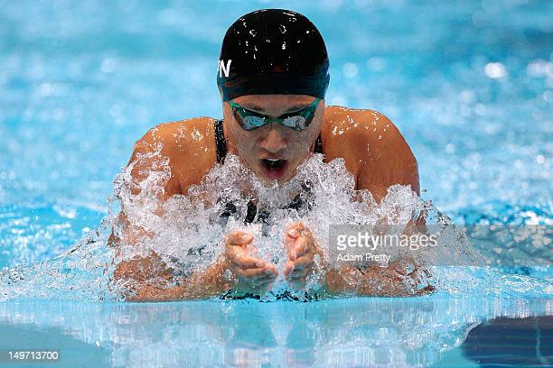 Satomi Suzuki of Japan competes in the Women's 200m Breaststroke Final on Day 6 of the London 2012 Olympic Games at the Aquatics Centre on August 2...