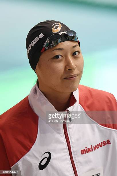 Satomi Suzuki of Japan looks on before women 100m Breaststroke Final during day one of the Japan Open 2014 at Tokyo Tatsumi International Swimming...