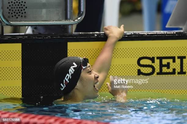 Satomi Suzuki of Japan reacts in 100m Breaststroke Final during the Japan Open 2017 at Tokyo Tatsumi International Swimming Pool on May 19 2017 in...