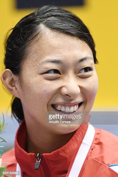 Satomi Suzuki of Japan smiles during the Japan Open 2016 at Tokyo Tatsumi International Swimming Pool on May 21 2016 in Tokyo Japan