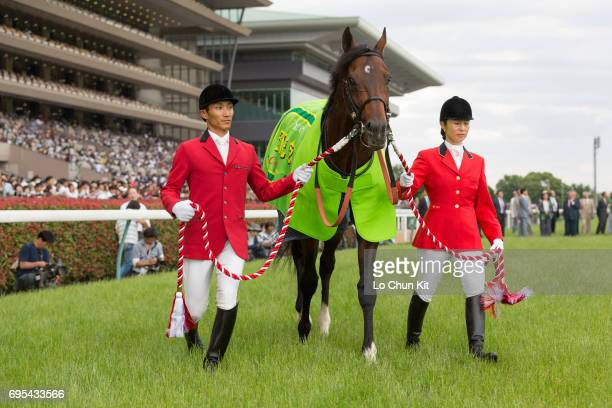 Satono Aladdin wins the Race 11 Yasuda Kinen at Tokyo Racecourse on June 4 2017 in Tokyo Japan