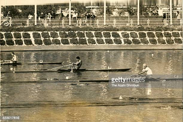 Satoomi Kasagi of Japan competes in the Men's Single Scull heat during the Tokyo Summer Olympic Games at Toda Boat Course on October 11 1964 in Toda...