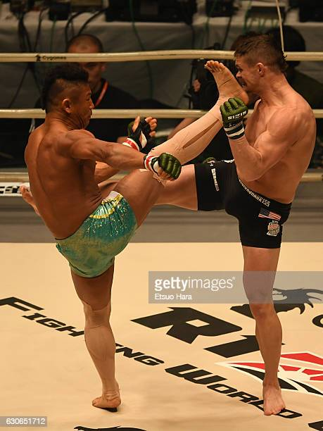 Satoru Kitaoka of Japan and Daron Cruickshank of the United States compete in the bout during the RIZIN Fighting World GP 2016 second round at...