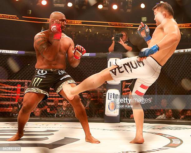Satoshi Ishii of Japan attempts to kick Quinton Rampage Jackson of the United States during the main event bout at Bellator 157 inside the Scottrade...