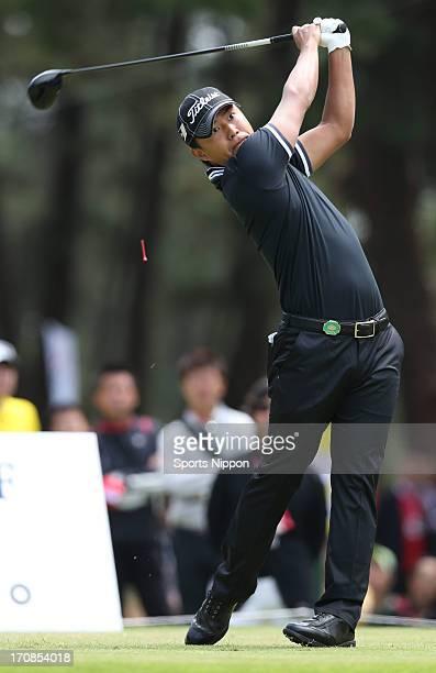 Satoshi Kodaira hits a tee shot during the final round of the Diamond Cup Golf at oarai golf Club on June 2 2013 in Oarai Ibaraki Japan