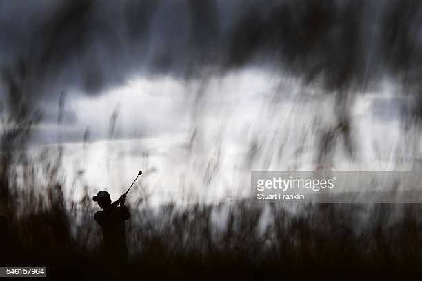 Satoshi Kodaira of Japan hits a shot during a practice round ahead of the 145th Open Championship at Royal Troon on July 11, 2016 in Troon, Scotland.