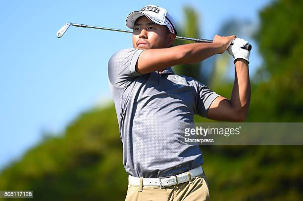 Satoshi Kodaira of Japan hits his tee shot during the first round of the Sony Open In Hawaii at Waialae Country Club on January 14 2016 in Honolulu...