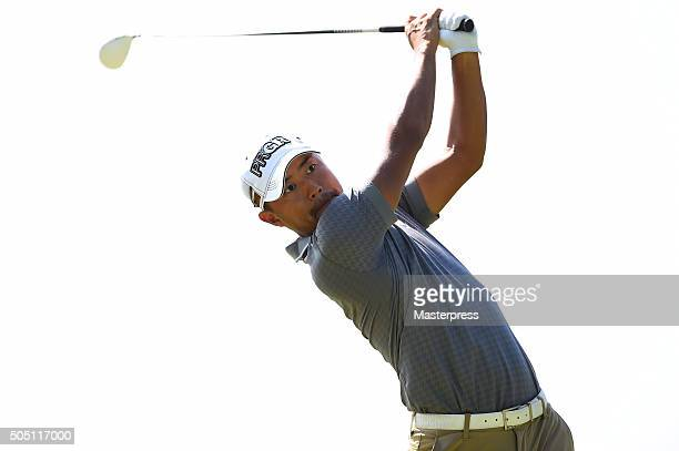 Satoshi Kodaira of Japan hits his tee shot on the 14th hole during the first round of the Sony Open In Hawaii at Waialae Country Club on January 14...