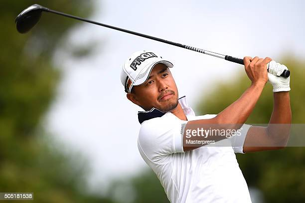 Satoshi Kodaira of Japan hits his tee shot on the 16th hole during the second round of the Sony Open In Hawaii at Waialae Country Club on January 15...