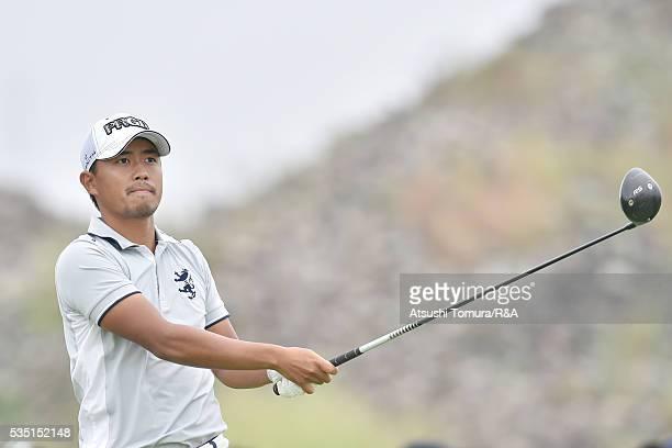 Satoshi Kodaira of Japan hits his tee shot on the 9th hole during the Mizuno Open at JFE Setonaikai Golf Club on May 29 2016 in Okayama Japan