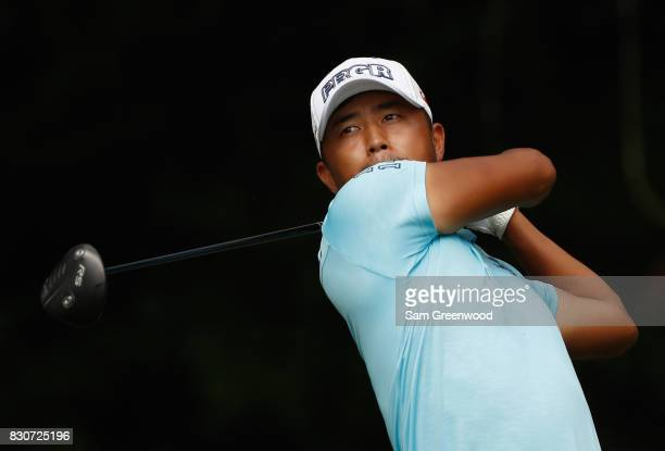 Satoshi Kodaira of Japan hits off the fifth tee during the third round of the 2017 PGA Championship at Quail Hollow Club on August 12 2017 in...