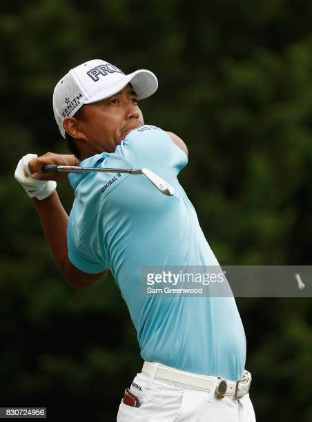 Satoshi Kodaira of Japan hits off the fourth tee during the third round of the 2017 PGA Championship at Quail Hollow Club on August 12 2017 in...