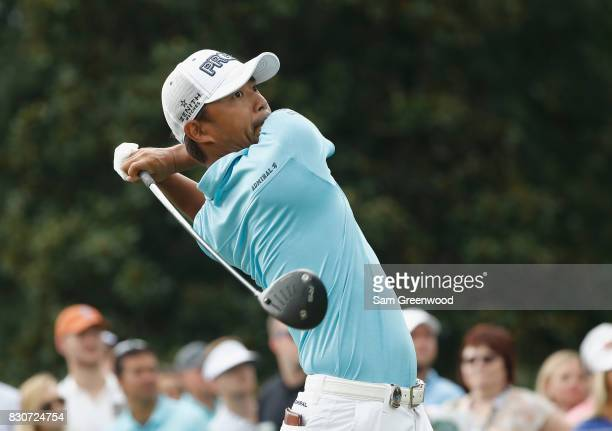 Satoshi Kodaira of Japan hits off the third tee during the third round of the 2017 PGA Championship at Quail Hollow Club on August 12 2017 in...