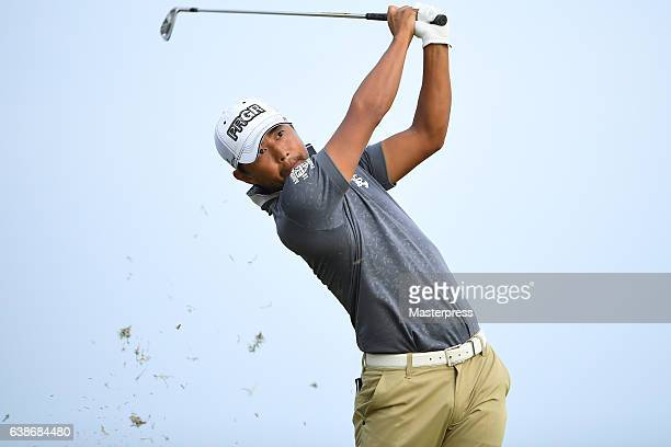 Satoshi Kodaira of Japan hits the tee shot on the 17th hole during the third round of the Sony Open In Hawaii at Waialae Country Club on January 14...