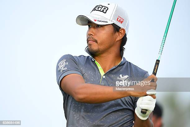 Satoshi Kodaira of Japan hits the tee shot on the 18th hole during the third round of the Sony Open In Hawaii at Waialae Country Club on January 14...
