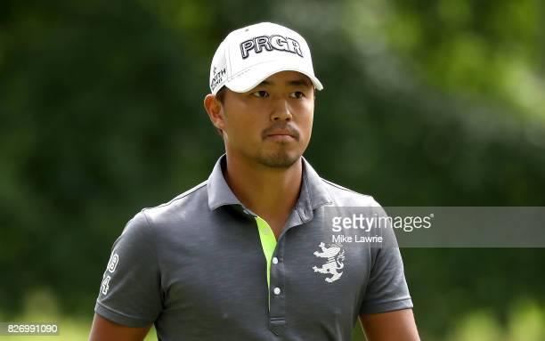 Satoshi Kodaira of Japan looks on from the sixth hole during the final round of the World Golf Championships Bridgestone Invitational at Firestone...