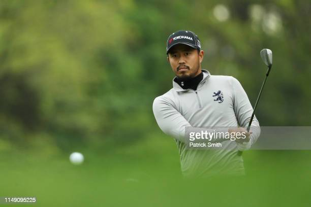 Satoshi Kodaira of Japan plays a shot during a practice round prior to the 2019 PGA Championship at the Bethpage Black course on May 14, 2019 in...