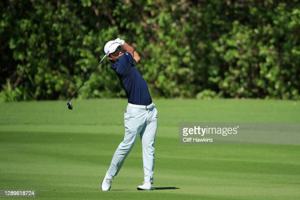 Satoshi Kodaira of Japan plays a shot on the 13th hole during the third round of the Mayakoba Golf Classic at El Camaleón Golf Club on December 05,...