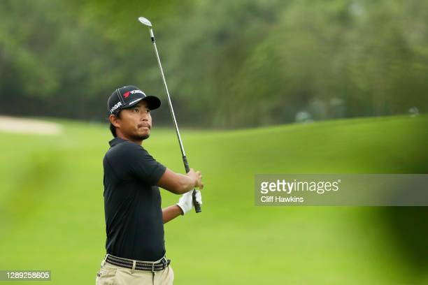 Satoshi Kodaira of Japan plays a shot on the ninth hole during the first round of the Mayakoba Golf Classic at El Camaleón Golf Club on December 03,...