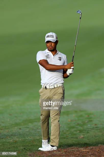 Satoshi Kodaira of Japan plays his shot during the second round of the 2017 PGA Championship at Quail Hollow Club on August 11 2017 in Charlotte...