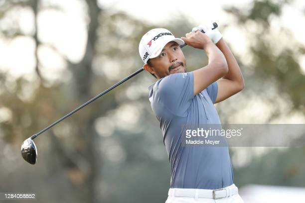 Satoshi Kodaira of Japan plays his shot from the 12th tee during the first round of the Vivint Houston Open at Memorial Park Golf Course on November...