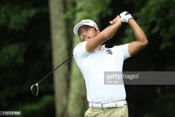 Satoshi Kodaira of Japan plays his shot from the 15th tee during the first round of the Travelers Championship at TPC River Highlands on June 20,...