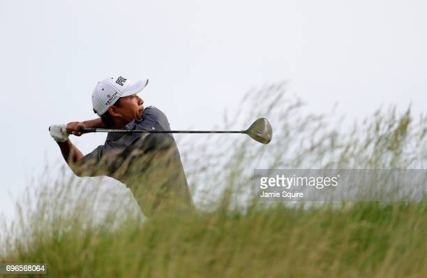 Satoshi Kodaira of Japan plays his shot from the fifth tee during the second round of the 2017 US Open at Erin Hills on June 16 2017 in Hartford...