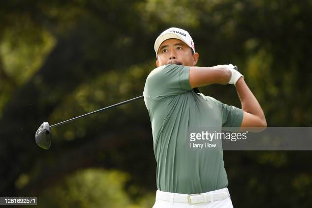 Satoshi Kodaira of Japan plays his shot from the second tee during the first round of the Zozo Championship @ Sherwood on October 22, 2020 in...