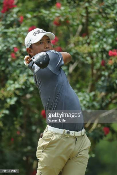 Satoshi Kodaira of Japan plays his shot from the second tee during the final round of the 2017 PGA Championship at Quail Hollow Club on August 13...