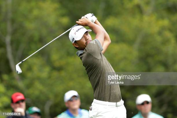Satoshi Kodaira of Japan plays his shot from the seventh tee during the first round of the 2019 RBC Heritage at Harbour Town Golf Links on April 18,...