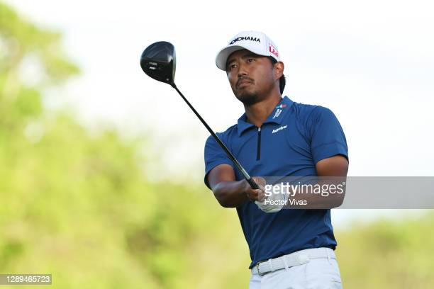 Satoshi Kodaira of Japan plays his shot from the sixth tee during the second round of the Mayakoba Golf Classic at El Camaleón Golf Club on December...