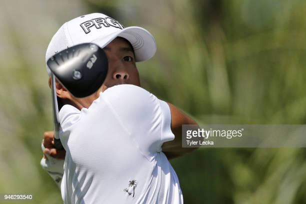 Satoshi Kodaira of Japan plays his tee shot on the 11th hole during the third round of the 2018 RBC Heritage at Harbour Town Golf Links on April 14,...