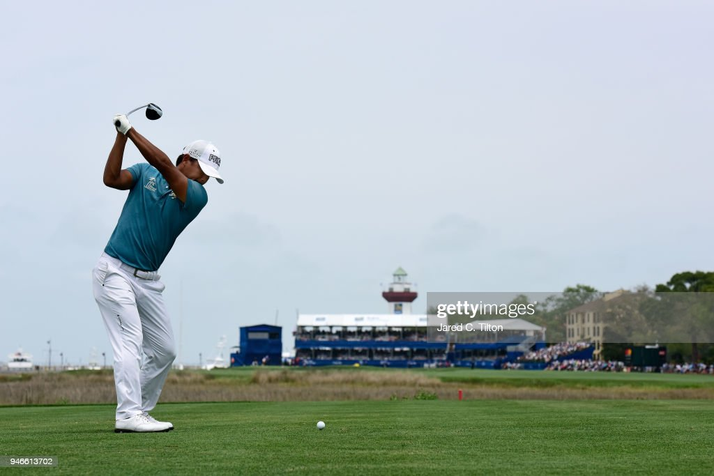 Satoshi Kodaira of Japan plays his tee shot on the 18th hole during the final round of the 2018 RBC Heritage at Harbour Town Golf Links on April 15, 2018 in Hilton Head Island, South Carolina.