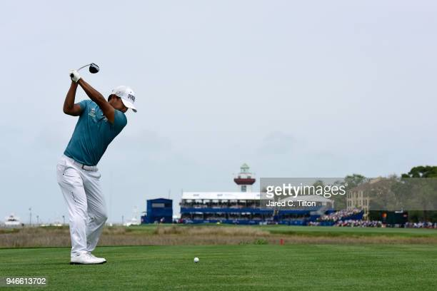 Satoshi Kodaira of Japan plays his tee shot on the 18th hole during the final round of the 2018 RBC Heritage at Harbour Town Golf Links on April 15...