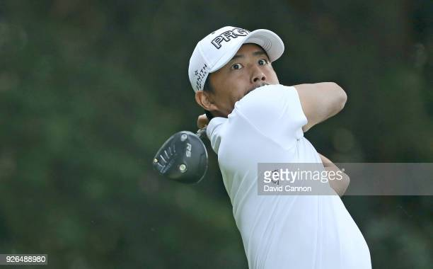Satoshi Kodaira of Japan plays his tee shot on the par 5 11th hole during the second round of the World Golf ChampionshipsMexico Championship at the...