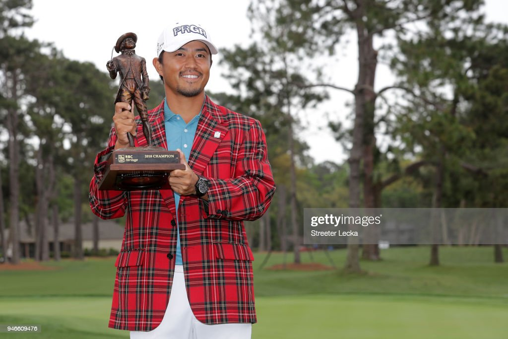 Satoshi Kodaira of Japan poses with the trophy after winning on the third playoff hole during the final round of the 2018 RBC Heritage at Harbour Town Golf Links on April 15, 2018 in Hilton Head Island, South Carolina.