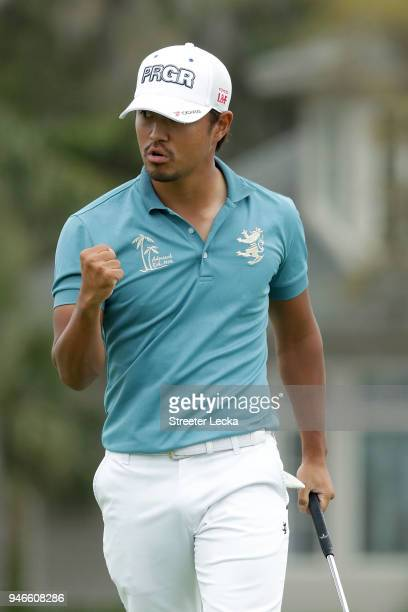 Satoshi Kodaira of Japan reacts after making his birdie putt on the third playoff hole on the 17th green during the final round the 2018 RBC Heritage...
