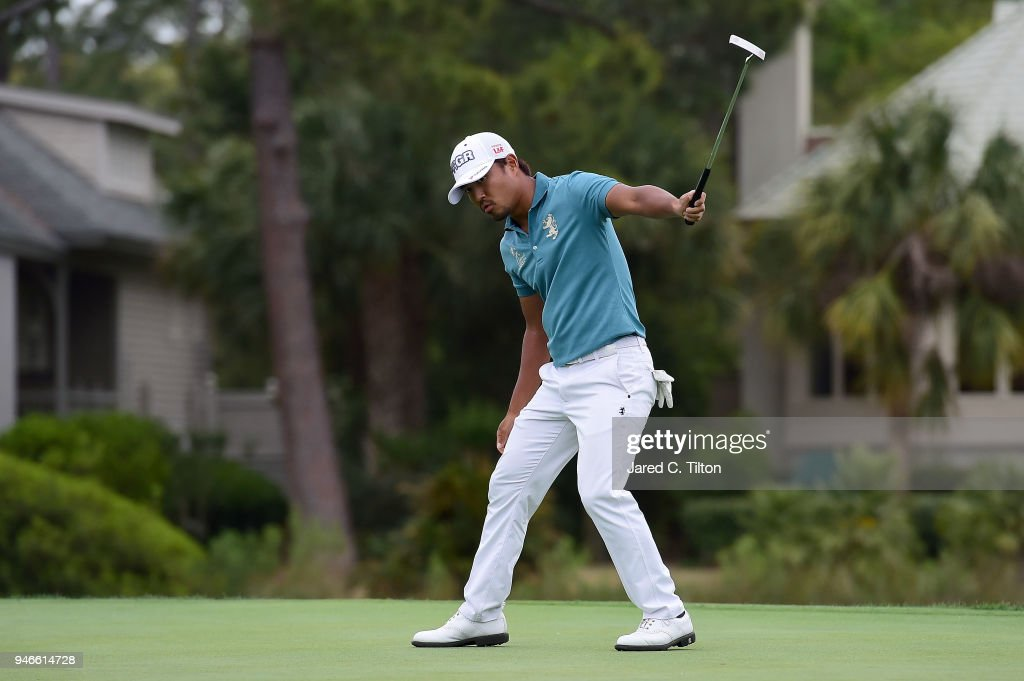Satoshi Kodaira of Japan reacts after making his birdie putt on the third playoff hole on the 17th green during the final round the 2018 RBC Heritage at Harbour Town Golf Links on April 15, 2018 in Hilton Head Island, South Carolina.