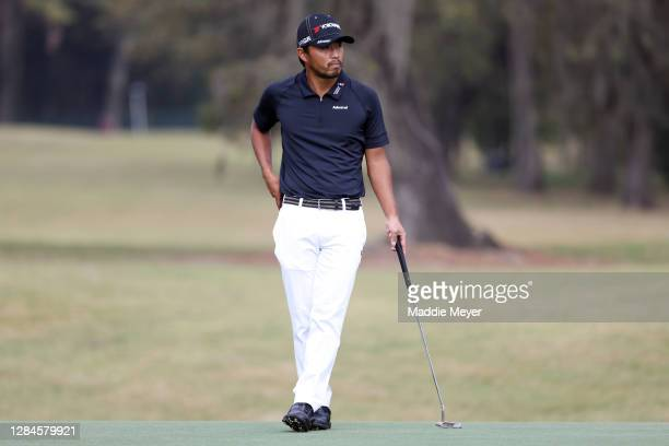 Satoshi Kodaira of Japan stands on the sixth green during the final round of the Houston Open at Memorial Park Golf Course on November 08, 2020 in...