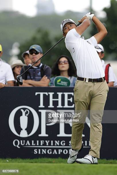 Satoshi Kodaira of Japan tees off on the 11th hole during day four of the SMBC Singapore Open at Sentosa Golf Club on January 22 2017 in Singapore