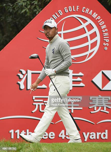 Satoshi Kodaira of Japan watches his tee shot on the 11th hole during the final round of the WGC HSBC Champions at the Sheshan International Golf...