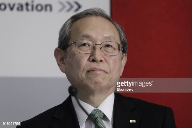 Satoshi Tsunakawa outgoing chief executive officer of Toshiba Corp attends a news conference at the company's headquarters in Tokyo Japan on...