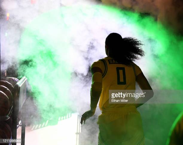 Satou Sabally of the Oregon Ducks is introduced before a semifinal game of the Pac-12 Conference women's basketball tournament against the Arizona...