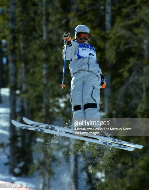Satoya Tae, of Japan, in the finals of the Women's Moguls of the 2002 Winter Olympics at Deer Valley resort in Park City, Utah. She placed third,...
