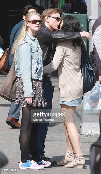 Satsuke Mitchell Daniel Craig and Ella Craig are seen walking in the west village on April 3 2010 in New York City